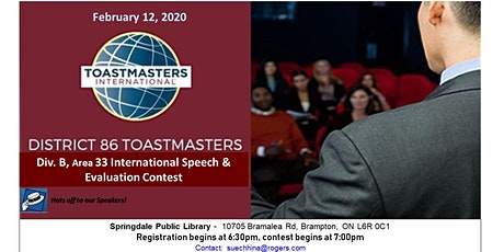 Area B33 International Speech & Evaluation Contest tickets