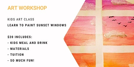 Kids Class - learn to paint 'Sunset Windows' tickets