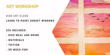 Kids Class - learn to paint 'Sunset Windows' tickets