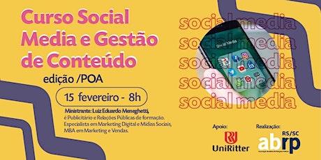 Curso Social Media e Gestão de Conteúdo – 8h - Ed. POA ingressos