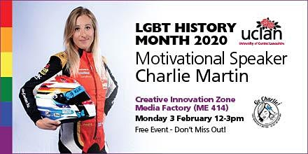 LGBT History Month 2020 at UCLan - Motivational speaker Charlie Martin
