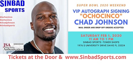 "Chad ""Ochocinco"" Johnson Autograph Signing Super Bowl Weekend tickets"