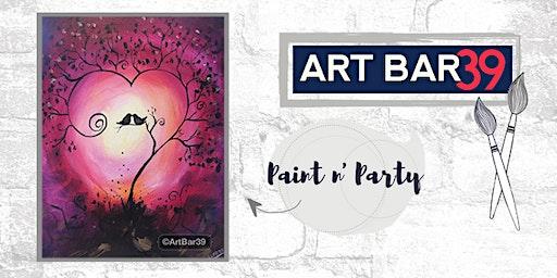 Paint & Sip | ART BAR 39 | Public Event | Sunset Birds in Heart Tree