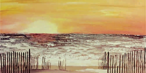 Acrylic Painting - Lake Michigan Winter Sunset