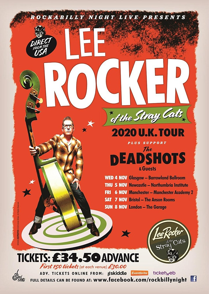 Lee Rocker (of The Stray Cats) + Support From The Deadshots & Ignition image