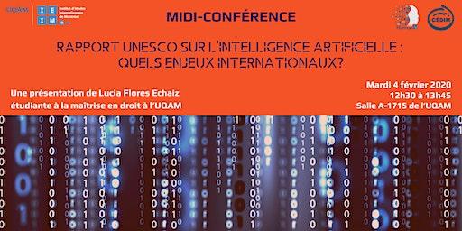 Rapport UNESCO sur l'Intelligence Artificielle: quels enjeux internationaux