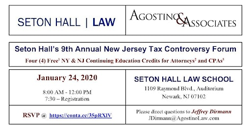 Seton Hall's 2020 New Jersey Tax Controversy Update
