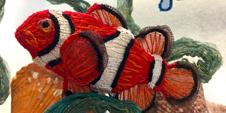 Tropical Illusion - 3 dimensional embroidered fish in a glass bowl tickets
