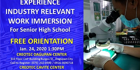INDUSTRY WORK IMMERSION AT CREOTEC CAVITE CENTER tickets