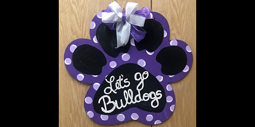 "23""x20"" Paw Print Wooden Door Sign Painting Party! Go Dogs! Go Tigers!"