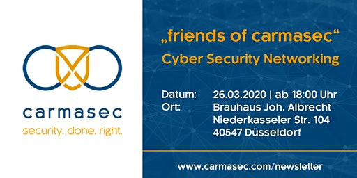 "5. ""friends of carmasec"" Stammtisch - Cyber Security Networking"