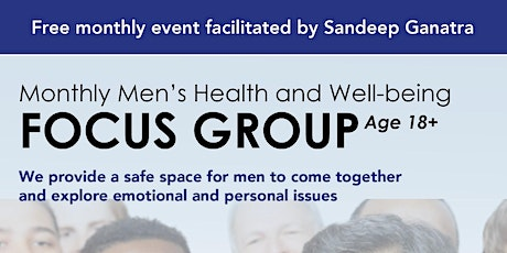 Monthly Men's Health & Well-being Focus Group September 2020 tickets