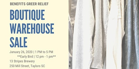 Boutique Warehouse Sale to benefit Greer Relief tickets