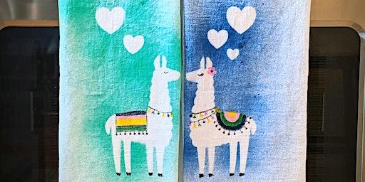 Lloving Llamas Tea Towel Galentines Valentines Paint Party BYOB Sat 2/15