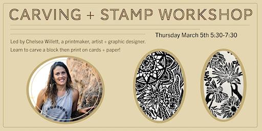Linoleum Carving + Printing Cards Block Printmaking Workshop