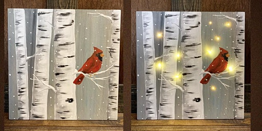 Light Up Cardinal Wooden Sign Paint Night-Russo's