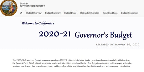 2020-21 California Budget: Priorities Through Governor Newsom's Budget Lens tickets