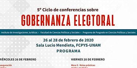 5TO CICLO DE CONFERENCIAS SOBRE GOBERNANZA ELECTORAL entradas