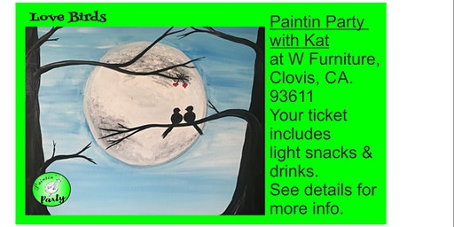 PAINTIN' PARTY with KAT: Love Birds (ACRYLIC PAINTING on CANVAS)