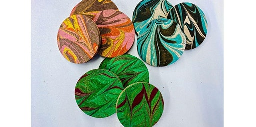 Learn to Marble a Set of 6 Cork Coasters  (04-18-2020 starts at 1:30 PM)