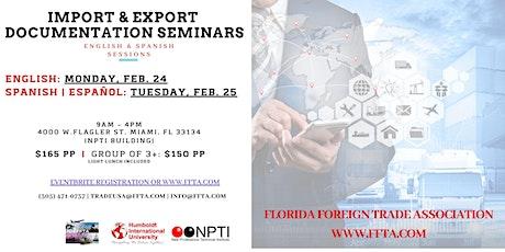 Seminario: Documentaciones en las Importaciones y Exportaciones en los EE.UU. February 25, 2020 entradas