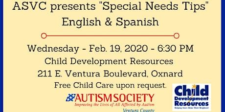 Autism  Society Ventura County Special Needs Tips Seminar tickets