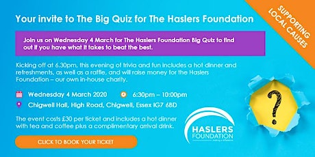 The Big Quiz for The Haslers Foundation 2020 tickets