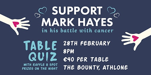 Table Quiz - Support Mark Hayes in his Battle with Cancer
