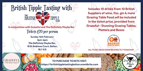 British Tipple Tasting Bolton - 10 Drinks Included - Supporting BACKUP NW tickets