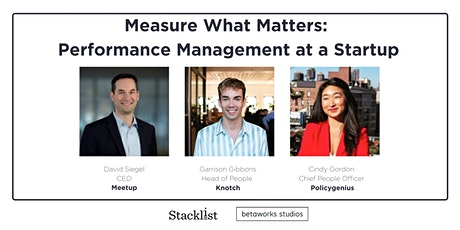 Measure What Matters: Performance Management at a Startup tickets