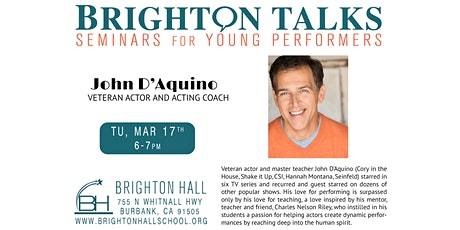 Brighton Talks: Veteran Actor and Acting Coach John D'Aquino tickets