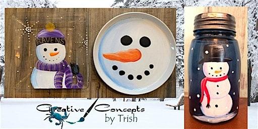 Snowman Mason Jar or Platter Paint Night