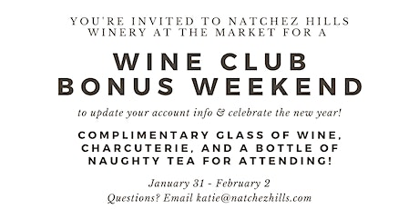 Wine Club Bonus Weekend tickets