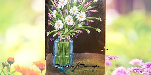 Flower Mason Jar Slate Paint Night