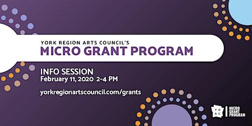 York Region Arts Council's Micro Grant Program - Info Session