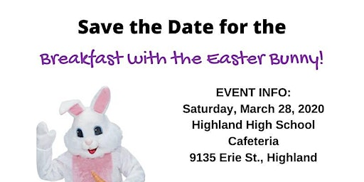 Breakfast with the Easter Bunny 8:30 AM to 9:30 AM Seating