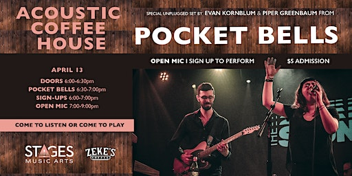 Pocket Bells LIVE at Stages Acoustic Coffee House on Monday 4/13
