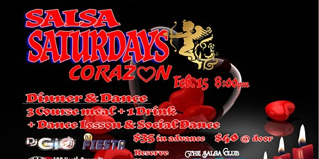 """Corazon"" Salsa Saturday Dinner and Dance with DJs GIO and Fiesta tickets"