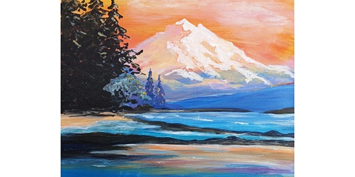 """3/9 - Corks and Canvas Event @ Waddell's Brewpub & Grille, SPOKANE """"Mountain Sunset"""""""