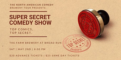 Super Secret Comedy Show at The Farm Brewery at Broad Run tickets