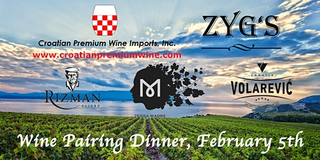 "Croatian Wine Dinner - ""Different Faces of Plavac Mali"" at Les Zygomates tickets"