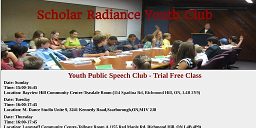 Scholar Radiance Youth Pubic Speech - Free Trial Class
