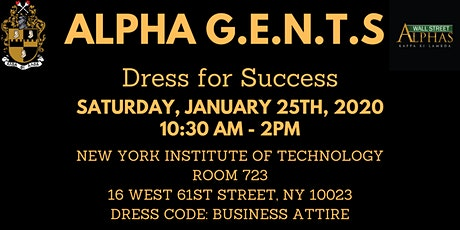 """Alpha G.E.N.T.S Jan 25th """"Dress for Success"""" Session tickets"""
