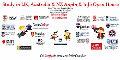 Meet the UK & Australia Unis & Uni Pathway Expert in Singapore tickets