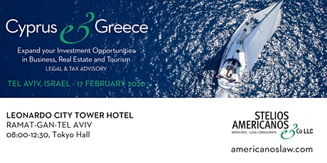 Cyprus & Greece - Expand your Investment Opportunities in Business, Real Estate and Tourism Legal & Tax Advisory tickets