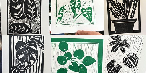 Drawing, Lino cutting and printing of botanicals in a plant shop!