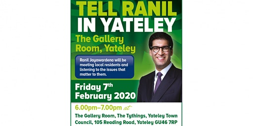 Tell Ranil in Yateley