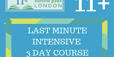 Last Minute Intensive 3 Day Course: 7+, 8+, 10+ & 11+ tickets