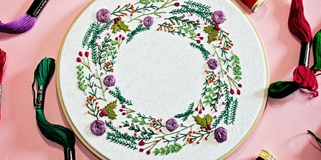 Pixels and Purls Winter Wreath Embroidery Crafternoon Tea Workshop tickets