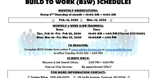 Build 2 Work Softskills, Lifeskills and Work Readiness Training February 2020